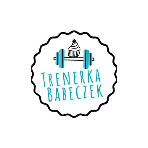 Logo- na białym tle błękitna sztanga a na niej ciastko babeczka. Napis: trenerka babeczek