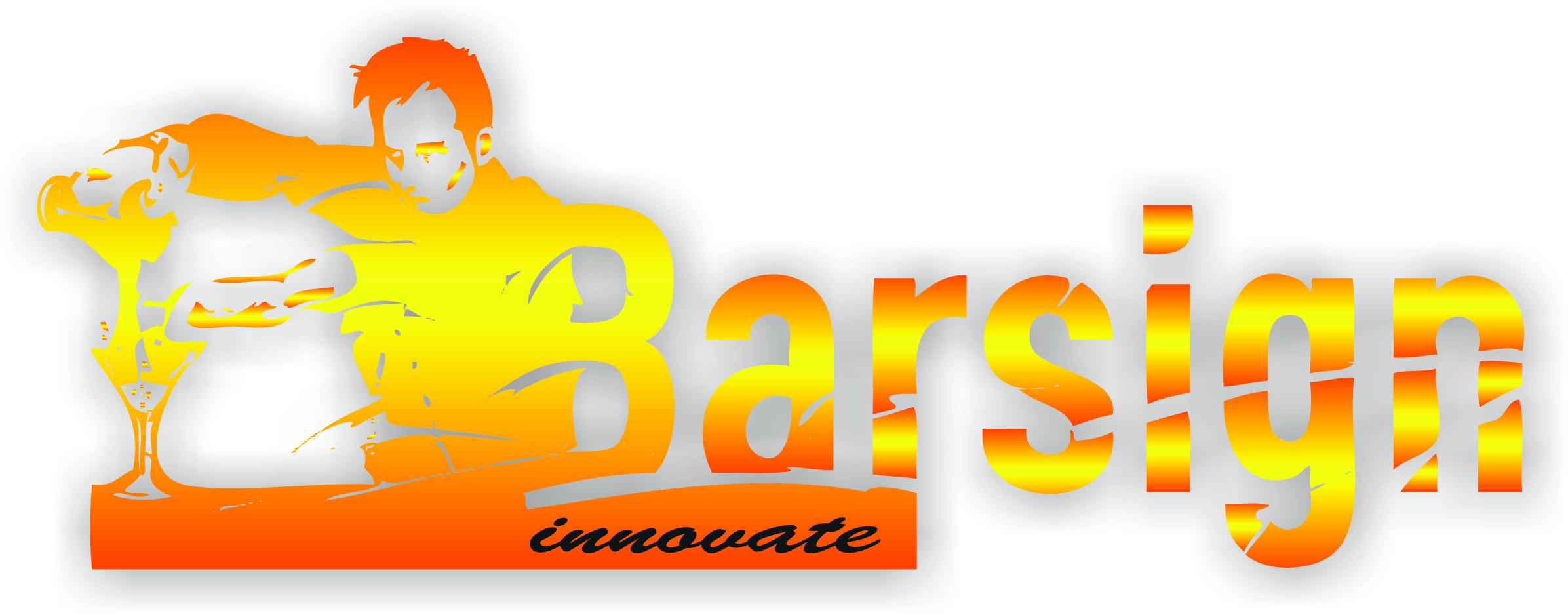 Logo Barsign- nazwa firmy oraz złoty wizerunek barmana nalewającego drink